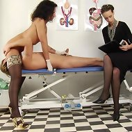 Medical face-sitting at femdom exam