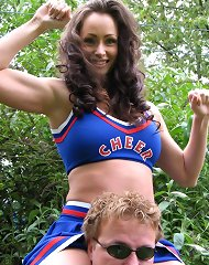Cheerleader dominates him
