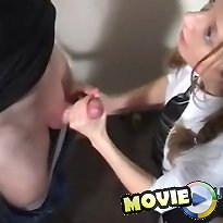 Pigtail floozy gets cummed on her hands