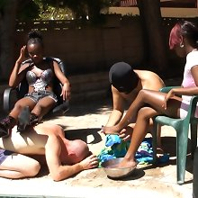 A malesub cleaned mistresses` feet outdoor