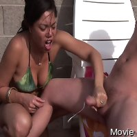 Latina CFNM hanjob by the jacuzzy