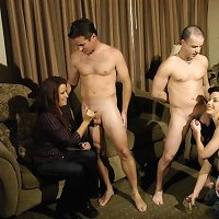 Nina and Sirena doing handjob with two willing participants