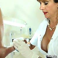 Medical woman milking man
