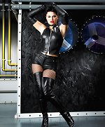 Brunette in black leather