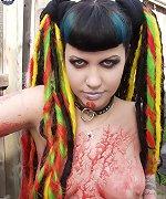 Beautiful tattooed trick or treat goth girl