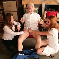 Old boy gets stripped and humiliated by two young girls