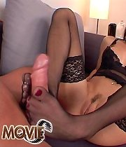 Hot cocksucker Vic fuckin in black silky stockings