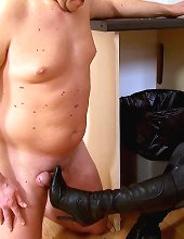 The husband got his cock slapped and trampled on the kitchen