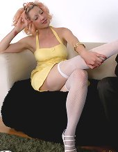 Rosy walks in on her boyfriend while he is sniffing her stockings. She lets him kiss and lick h....