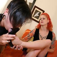 Submissive girl licked shoes and feet
