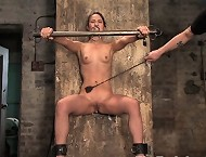 Slave tied, whipped and fucked