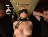 Hot blonde with big natural tits gets publicly fucked and punished in a bar