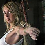 Blonde slavegirl bound and ass drilled