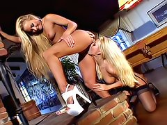 Blonde lesbians face-sitting and dildoing