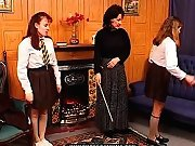 Headmistress disciplines misbehaving schoolgirls
