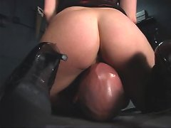 Submissive male satisfies his domina