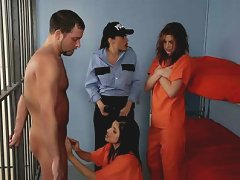 Two Horny Female Inmates Jerk A Cock