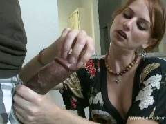 Cock stroked in the kitchen