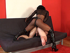 The Mistress fucks the arse of a slave with her red strap-on. Hard and unforgiving!