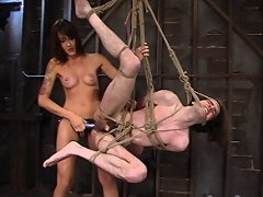 Nipple torture and strapon ass fucking