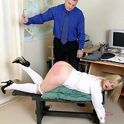 Blonde bitch gets spanked otk