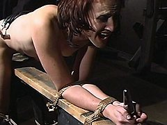 Bondage Slut Dylan Ryan fucked in the ass then plugged with a steel butt plug
