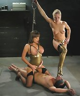 Two Dommes one slave