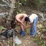 Hard spanking in the forest
