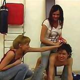 Two chicks humiliated a boy in the gymnasium