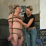 Slave tied and flogged
