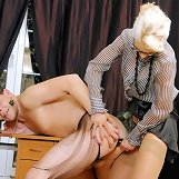 Malesub worshipped mistress` feet and got fucked in ass in the office