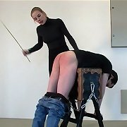 Pants down and bent over the whipping bench - poor guy in pain from severe caning