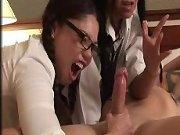 School girls milk a cock