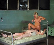 Male patient tied, smothered and fucked