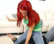 Redhead dominatrix punished slave