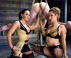 Two dominas punished the bound malesub