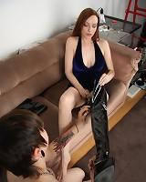 Slavegirl licked mistress` boots