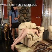 Young russian girl with big tits bends over for a brutal caning