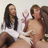 Femdom nurses trample and milk a dude