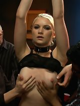An amateur blonde has her pussy pumped hard in bdsm style