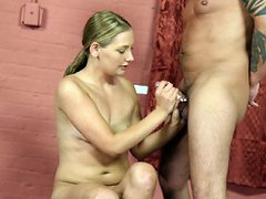 Cute innocent skank jerks off hard cock