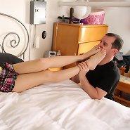 Husband licked wife`s feet