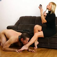 Leashed slave gets sissified and made to lick his mistress's feet and shoes