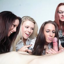 Computer nerd is stripped and wanked by five giggling office girls