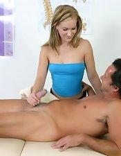 Cock jerking on massage