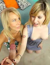 Granny and young teen handjob