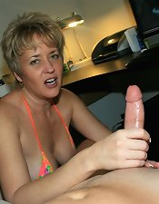Mom is tugging cock