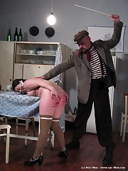 A chubby girl receiving the caning be required of her life