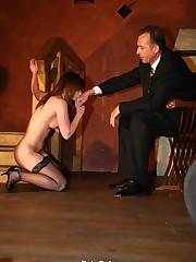 Bullwhipping her oiled skin