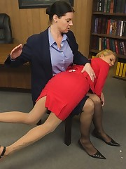 Brunette on tap work gets her hatless ass spanked